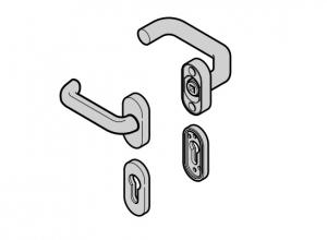 Гарнитур нажимных ручек изогнутая ручка / плоская ручка Hormann (3096798)